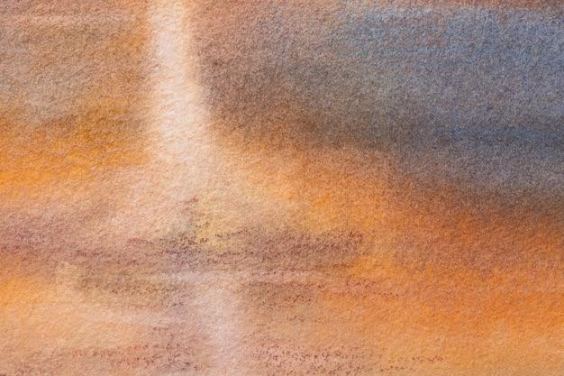 Fond D'art Abstrait Couleurs Bleu Marine Et Orange. Peinture Aquarelle Sur Toile Avec Dégradé Brun Doux. Fragment D'œuvres D'art Sur Papier Avec Motif. Toile De Fond De Texture. Photo Premium