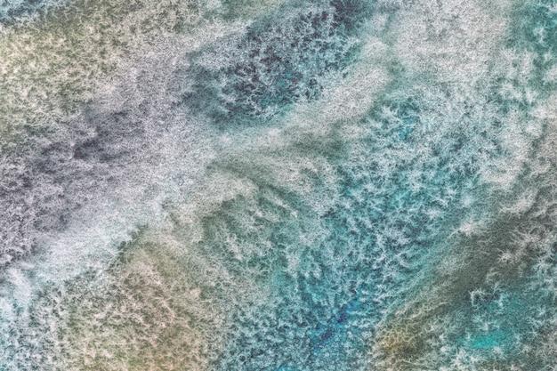 Fond D'art Abstrait Couleurs Turquoise Et Vert. Peinture Aquarelle Sur Toile. Photo Premium