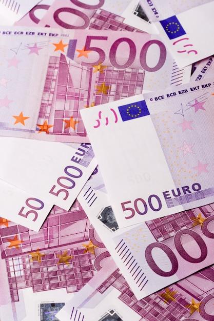 Fond de billets de 500 euros Photo Premium