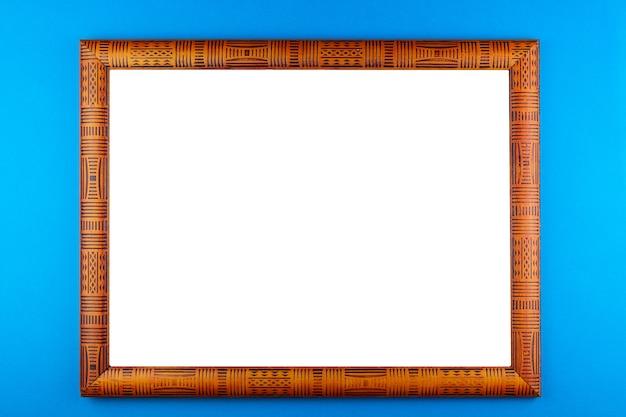 Fond bleu cadre en bois Photo Premium