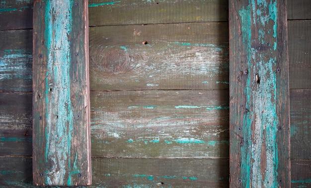 Fond De Bois Vintage, Planche De Bois Ancien Avec Des Traces De Peinture Turquoise, Texture Bois De Grange, Rustique Photo Premium