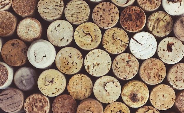 Fond De Bouchons De Vin Gros Plan, Macro. Contexte De Vinification. Photo Premium