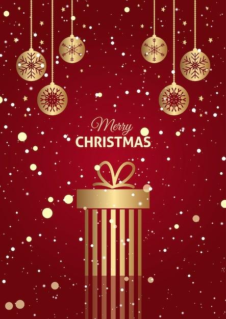 Fond De Cadeau De Noël Rouge Et Or Avec Des Boules Suspendues Photo gratuit