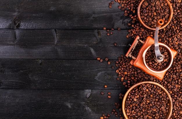 Fond de café, vue de dessus avec espace de copie Photo Premium
