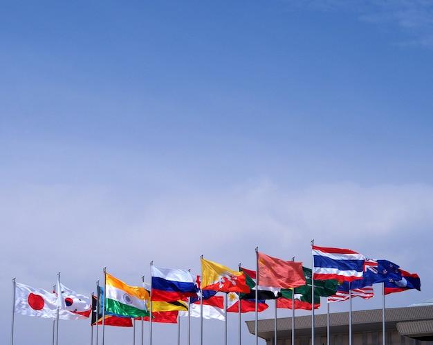 Fond de ciel bleu drapeau national. Photo Premium