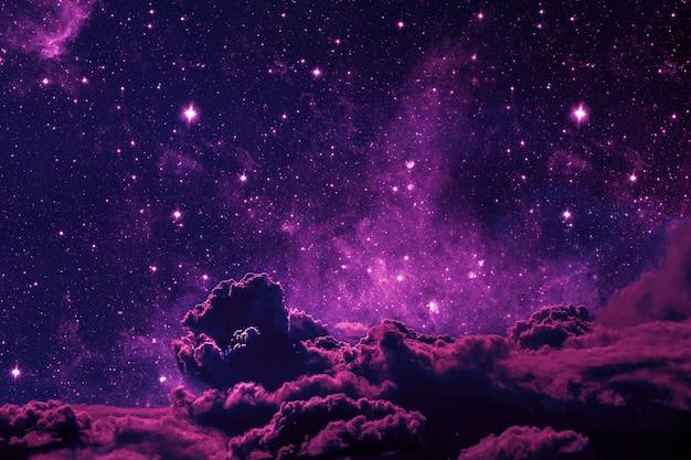 Fond De Ciel Nocturne Avec étoiles Et Lune Et Nuages. Couleur Rose En Plastique. éléments De Cette Image Fournis Par La Nasa Photo Premium