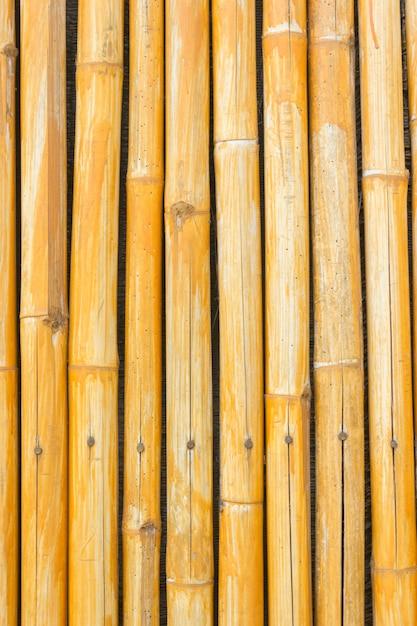 Fond De Clôture En Bambou Jaune Photo Premium