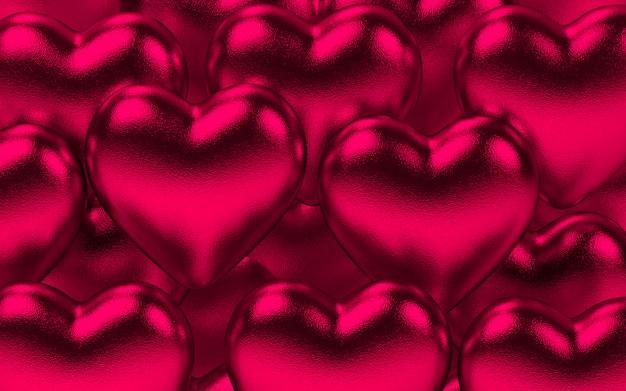 Fond De Coeurs Métalliques Valentine En Rose Photo Premium