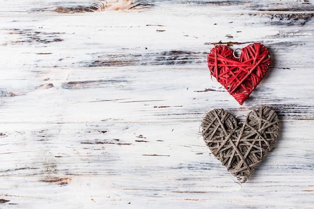 Fond avec des coeurs, valentine. la saint valentin. amour. photo romantique. place pour le texte. espace de copie Photo Premium