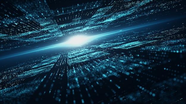 Fond de cyberespace numérique et de particules Photo Premium
