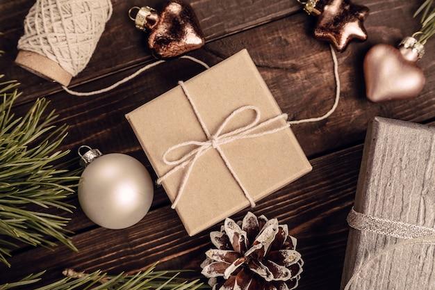 Fond de décoration de noël Photo Premium