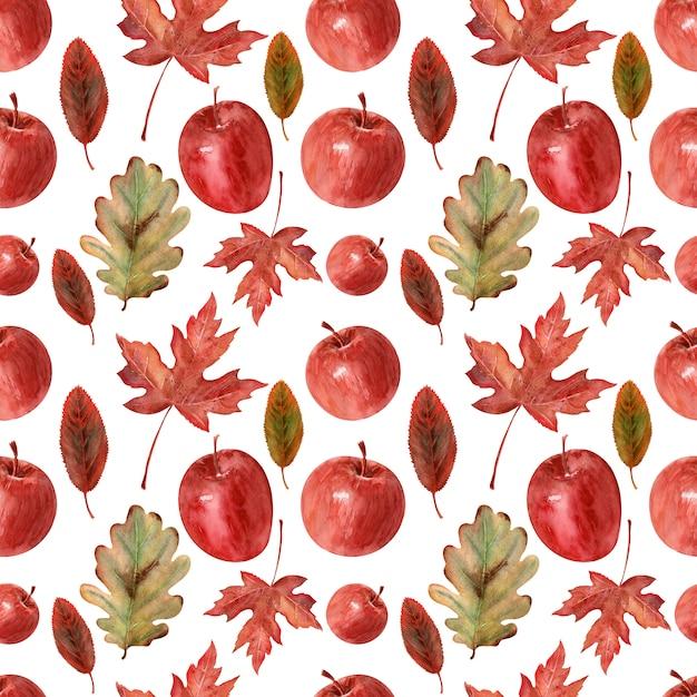 Fond de dessin à l'aquarelle pommes, feuilles et cadre Photo Premium