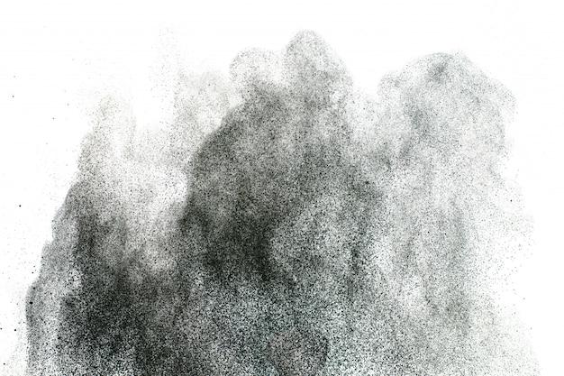 Fond D'éclaboussures De Poudre Noire. Texture Des Particules De Poussière Photo Premium