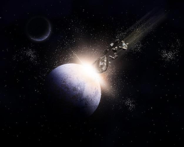 Fond d'espace 3d avec des météorites en collision avec la planète Photo gratuit