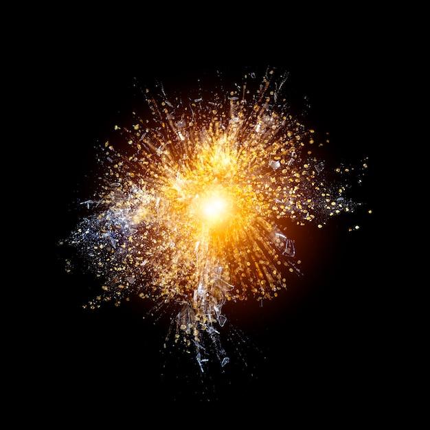 Fond d'explosion dorée Photo Premium