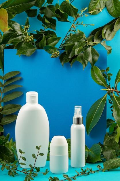 Fond Avec Des Feuilles Vertes Et Des Plantes Et Une Bouteille De Cosmétique. Concept De Soin Scin Naturel Photo Premium