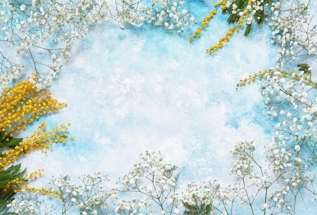 Fond de fleurs de printemps avec mimosa et gypsophile Photo Premium