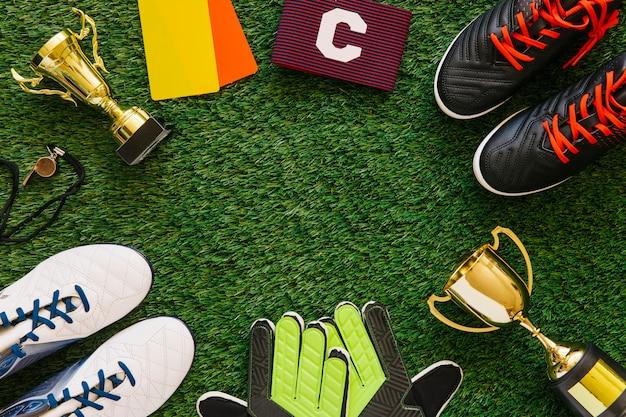 Fond de football avec fond au milieu Photo gratuit