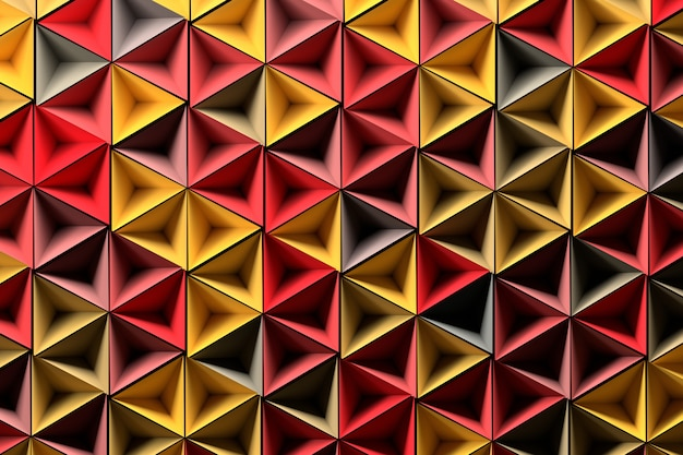 Fond avec des formes géométriques rouges jaunes aléatoires Photo Premium