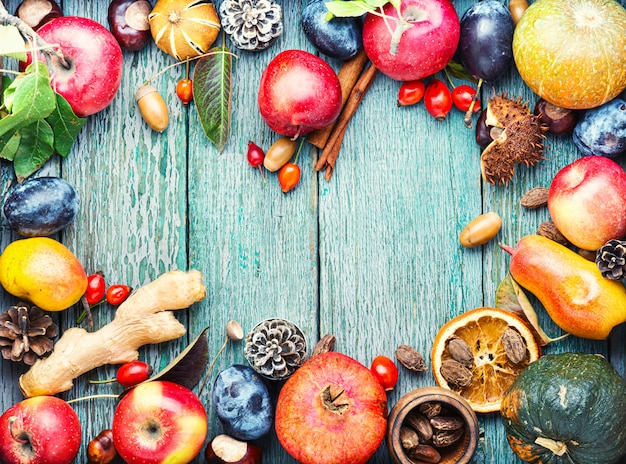 Fond De Fruits D'automne Photo Premium