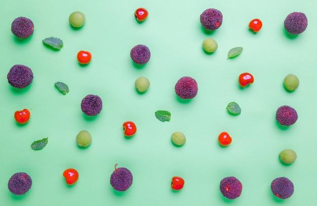 Fond de fruits frais en été Photo Premium