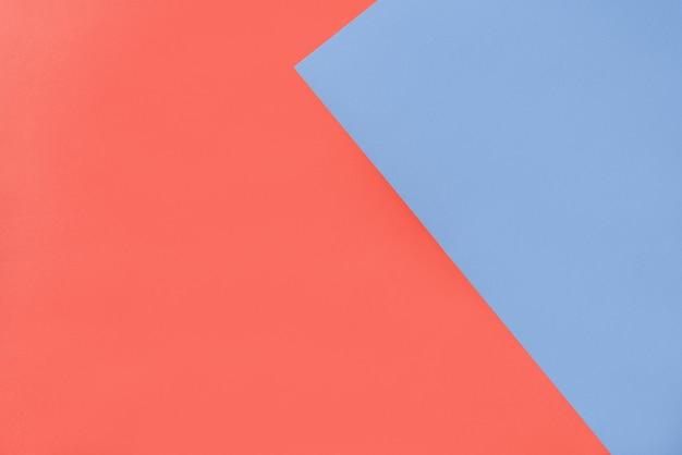 Fond Géométrique De Deux Papiers De Couleur Bleue Et Orange. Photo Premium