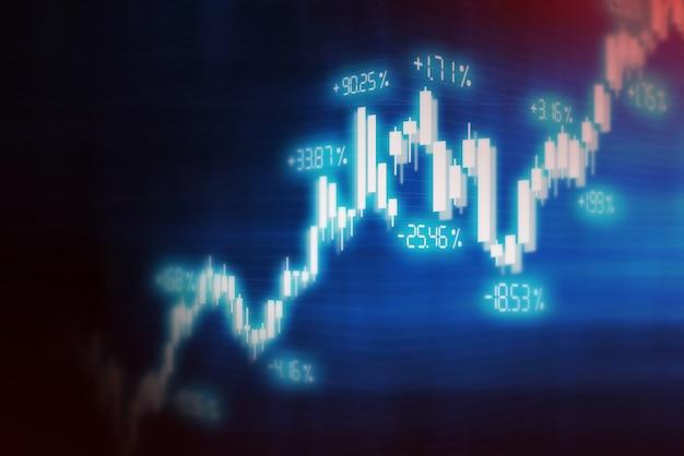 Fond de graphique financier boursier, écran de technologie Photo Premium