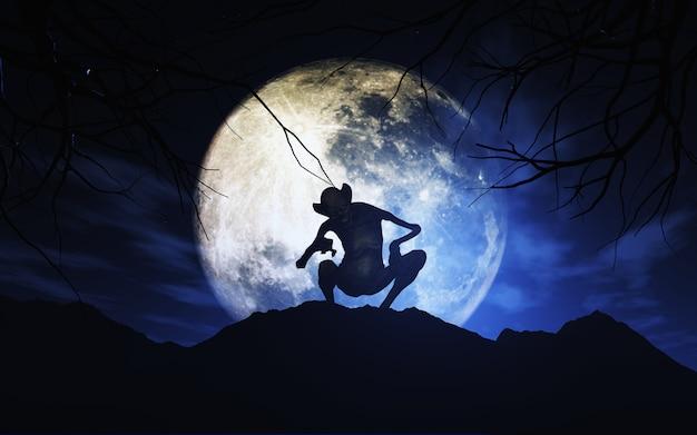 Fond d'halloween 3d avec créature contre ciel éclairé par la lune Photo gratuit