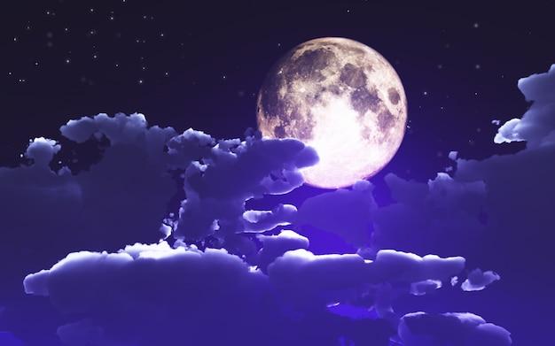 Fond d'halloween 3d avec nuages et lune Photo gratuit