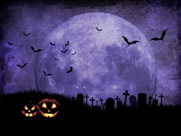 Fond de halloween grunge avec cimetière contre ciel éclairé par la lune Photo Premium