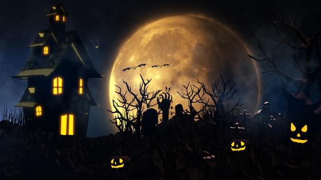 Fond D'halloween Avec Maison Hantée, Fantôme, Chauves-souris Et Citrouilles Photo Premium