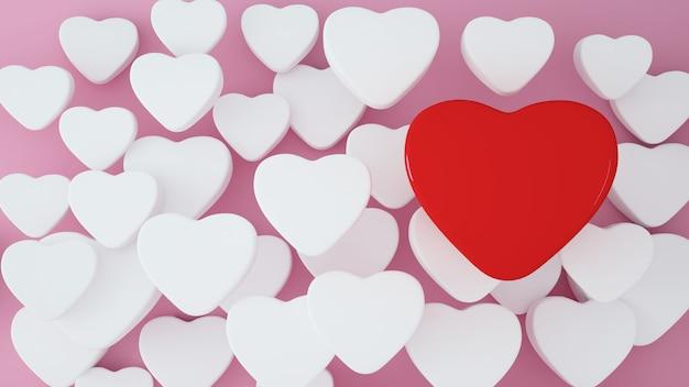 Fond illustration de saint valentin - rendu 3d 3d Photo Premium