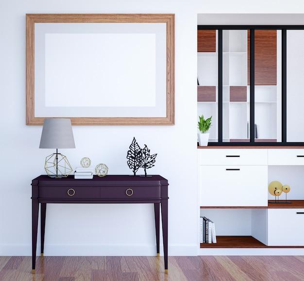 Fond intérieur de salon de luxe moderne avec maquette image vide affiche, rendu 3d Photo Premium