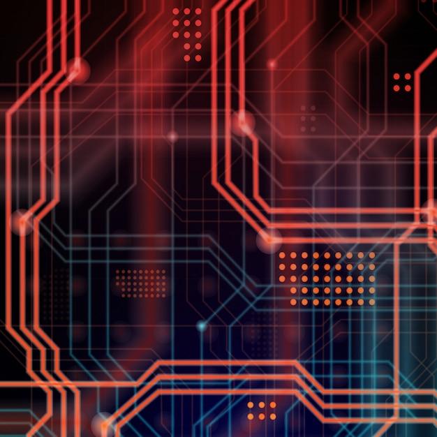 Fond de lignes de circuit noir et rouge Photo Premium