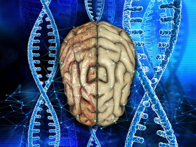 Fond médical 3d avec un cerveau sain et malsain sur des brins d'adn Photo Premium
