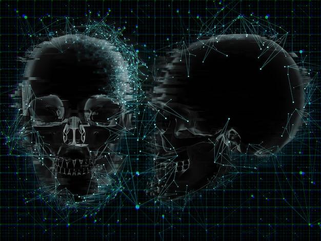 Fond médical 3d avec design low poly sur xray de crânes Photo gratuit