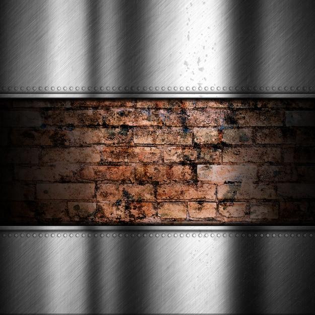 Fond de métal brossé avec brique Photo gratuit