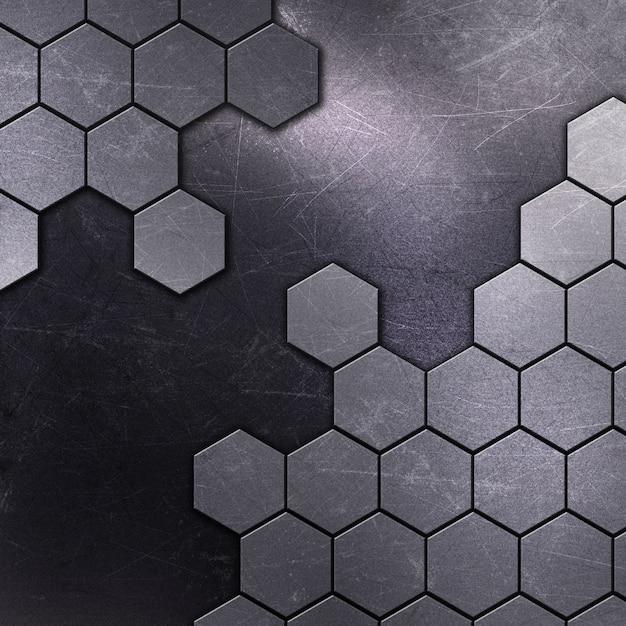 Fond Métallique Avec Des Rayures Et Des Taches Et Des Formes Hexagonales Photo gratuit