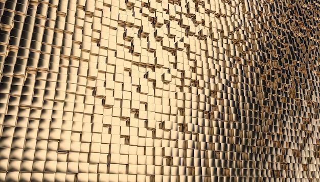 Fond De Mosaïque Cubique Or Géométrique.ç Photo Premium