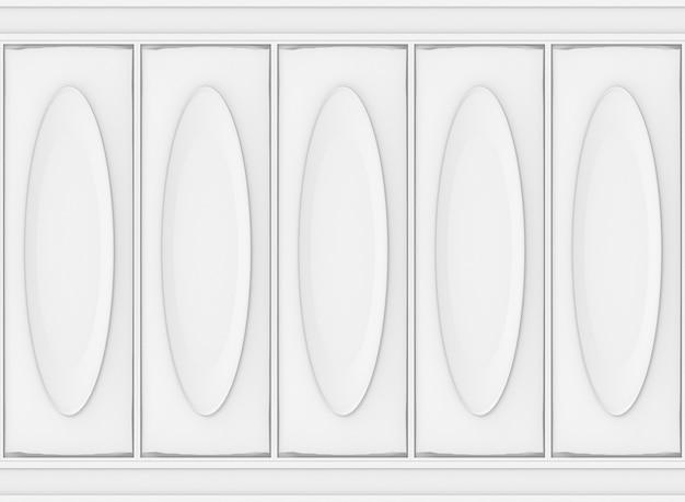 Fond de mur en bois de modèle ovale classique blanc de luxe. Photo Premium