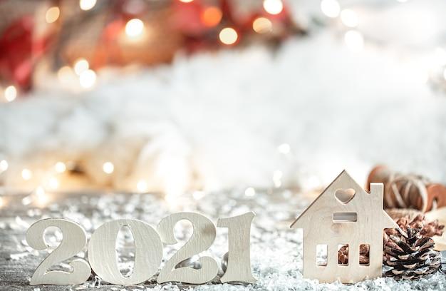 Fond De Noël Abstrait Festif Avec Numéro En Bois 2021 Bouchent Et Détails De Décoration. Photo gratuit