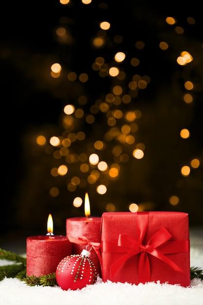 Fond de noël brillant rouge Photo Premium