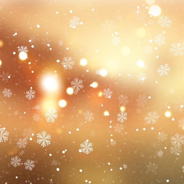 Fond de noël doré avec des flocons de neige et de la neige Photo gratuit