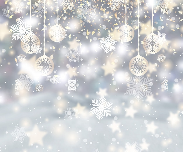 Fond de noël avec des flocons de neige, des babioles et des confettis Photo gratuit