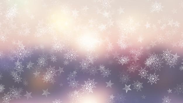 Fond de noël de flocons de neige et d'étoiles Photo gratuit