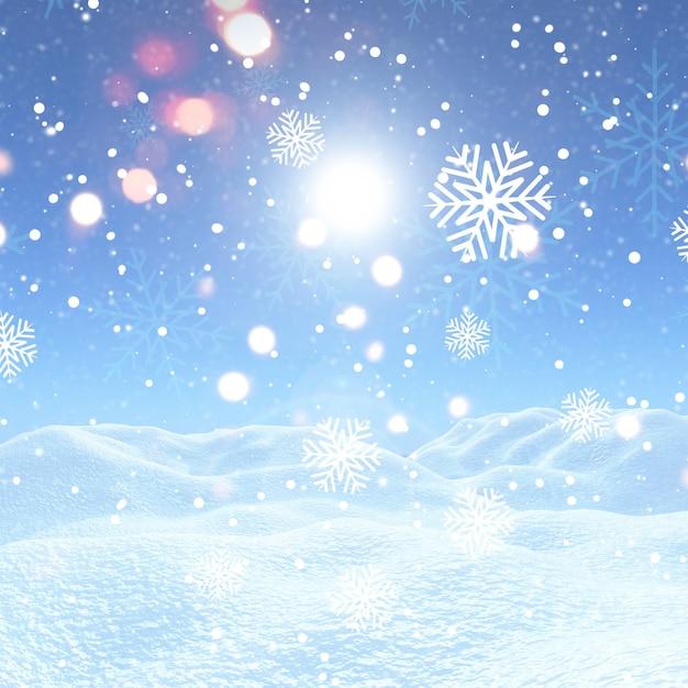 Fond de noël avec des flocons de neige et de la neige Photo gratuit
