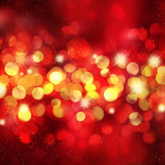 Fond de noël avec des lumières de bokeh et des étoiles Photo gratuit