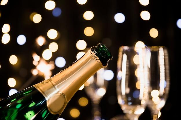 Fond de nouvel an avec du champagne Photo gratuit