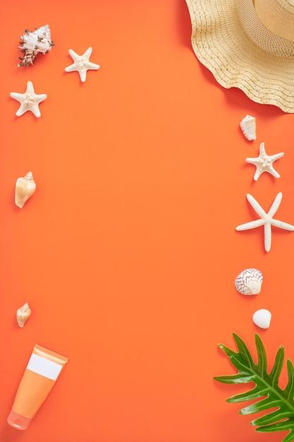 Fond orange concept été vacances vacances Photo Premium