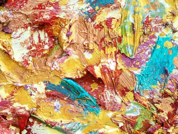 Fond De Peinture à L'huile Colorée Or Et Texturé. Photo Premium